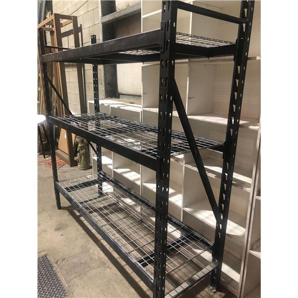Metal shelf racking unit black w/ 3 adjustable mesh deck shelves - approx. 7ft across x 2ft wide x 7