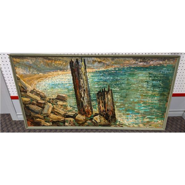 "Large framed oil on board impressionist style painting by artist Bruno Ozolins ""Summer-1970-Vasara"""