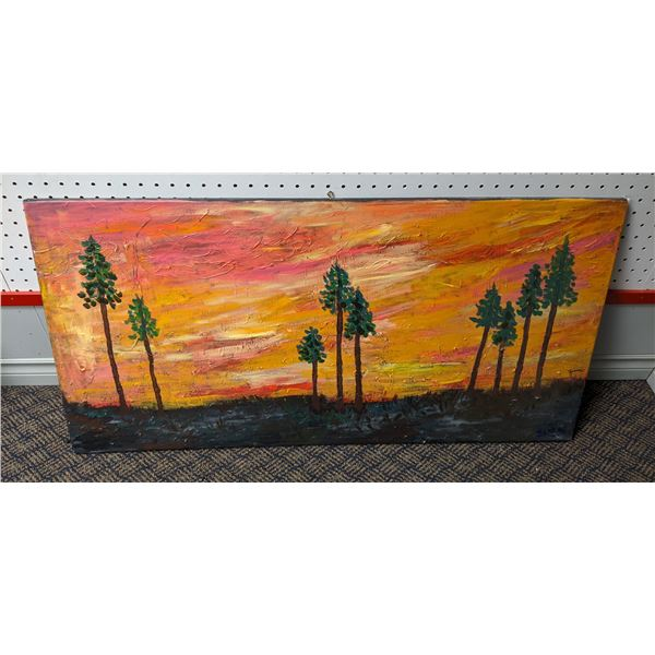 Oil on canvas impressionist style painting by Zenna - Forest scene -39 3/4in x 20in