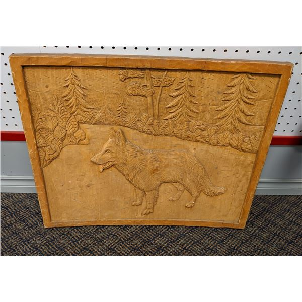 Intricately carved wolf on forest path on solid carved wood panel - signed by artist on back 1977 -