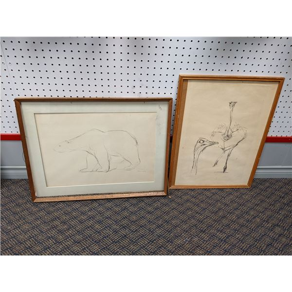 Group of 2 framed pencil sketch drawings - believed to be Swedish artist - Polar Bear/ Ostrich (plea