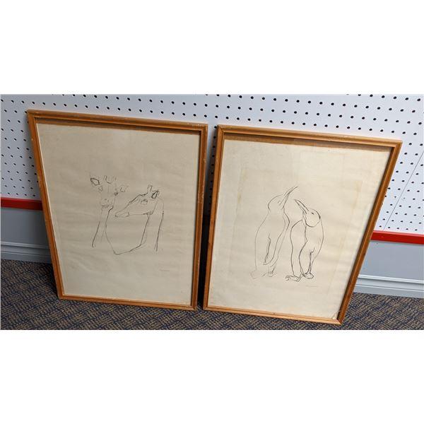 Group of 2 framed pencil sketch drawings - believed to be Swedish artist - Giraffes/ Penguins (pleas