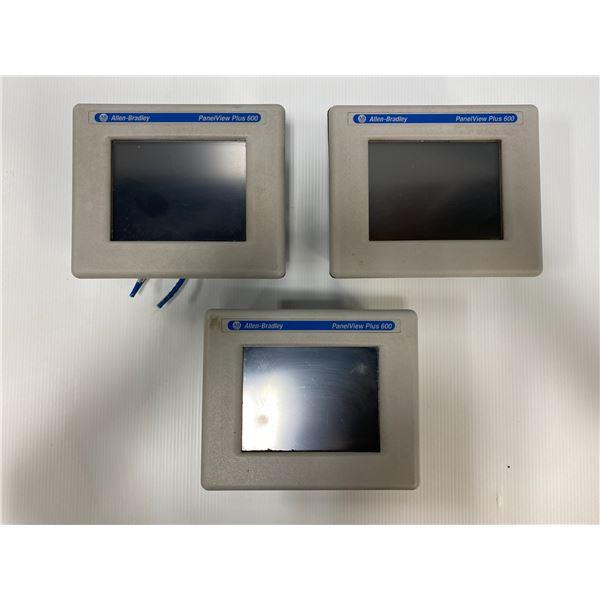 (3) Allen Bradley Panelview Plus 600 Screens