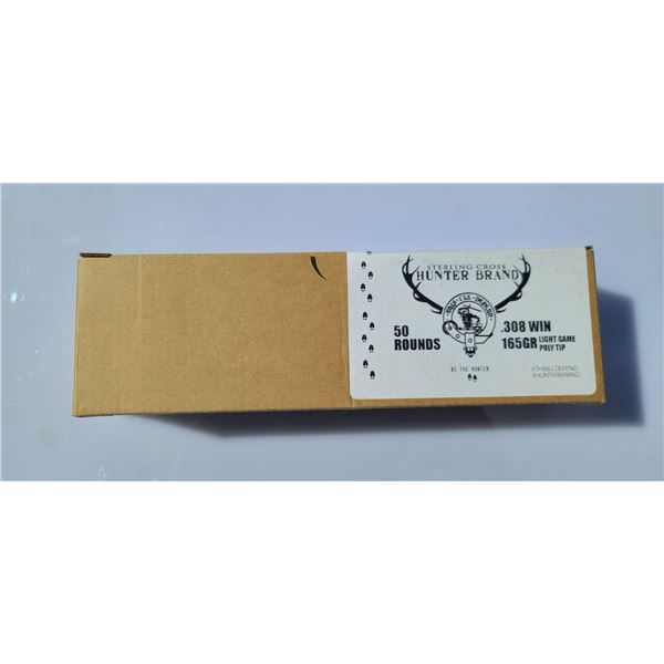STERLING CROSS .308 165 GRAIN LIGHT GAME POLYMER TIP . 50 ROUNDS