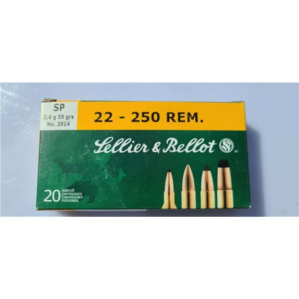 SELLIER AND BELLOT 22-250REM SP , 55GR