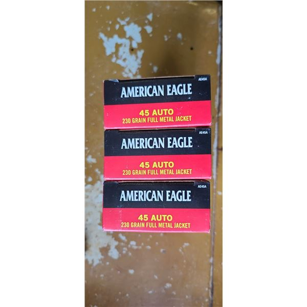 150 ROUNDS OF .45 AUTO AMERICAN EAGLE PISTOL (3 BOXES OF 50)
