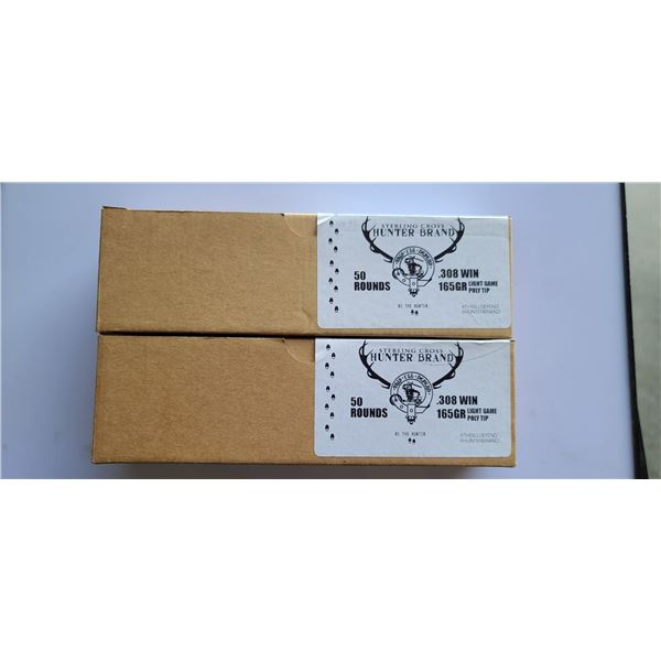 100 ROUNDS OF .308 WIN, 165GR, (2 BOXES OF 50RNDS) STERLING CROSS/ HUNTER BRAND LIGHT GAME POLYMER T