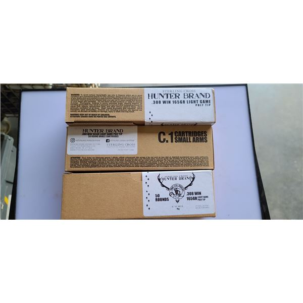 150 ROUNDS OF .308 WIN, 165GR, (3 BOXES OF 50RNDS) STERLING CROSS/ HUNTER BRAND LIGHT GAME POLYMER T