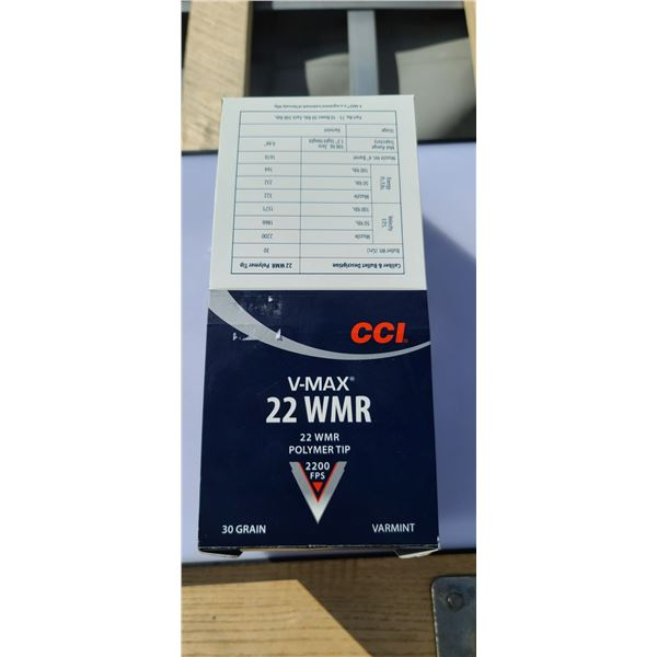 BRICK OF 500 ROUNS OF CCI 22WMR V- MAX 2200FPS 500 ROUNDS POLYMER TIP VARMINT