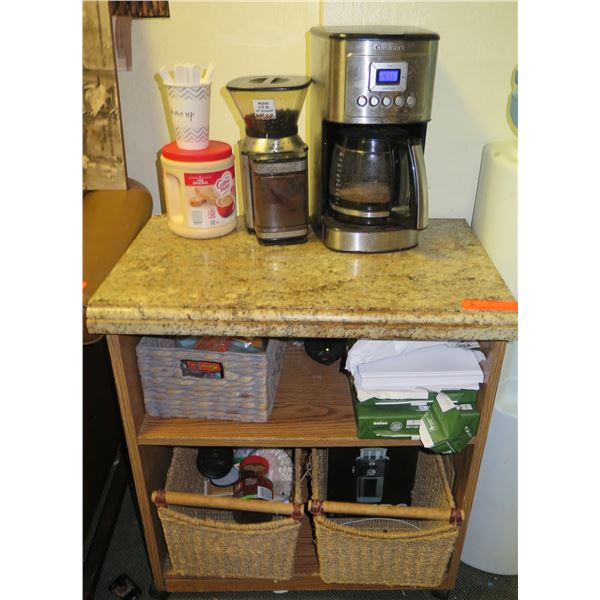 Shelving Unit with Coffee Maker and Baskets