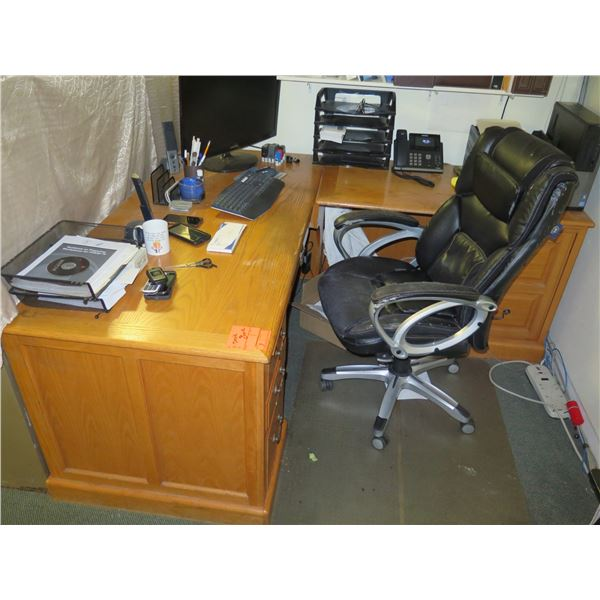 Wooden L-Shaped Desk and Office Chair (items on desk not included)