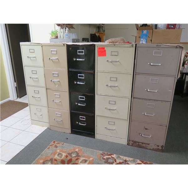 Qty 5 Four-Drawer Filing Cabinets with Contents: wires, cameras, tape, supplies