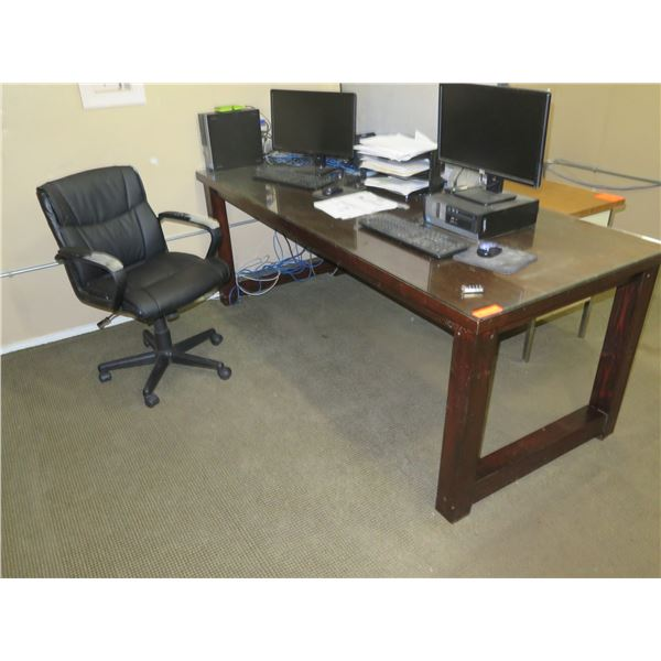 Office Furniture: Wooden Table, Office Chair, Credenza, Wire Shelving, Dividers, etc.
