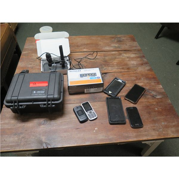 Misc. Cell Phones, Pelican Case, Router, etc. (electronics untested)