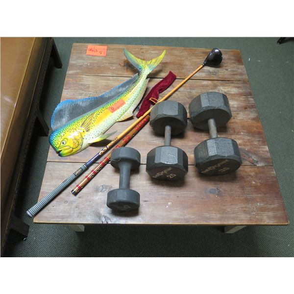 Misc. Free Weights, Mahi Wall Hanger (golf club & stick not included)