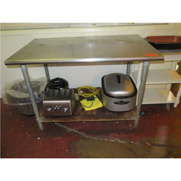 Metal Utility Table (includes items on bottom shelf)