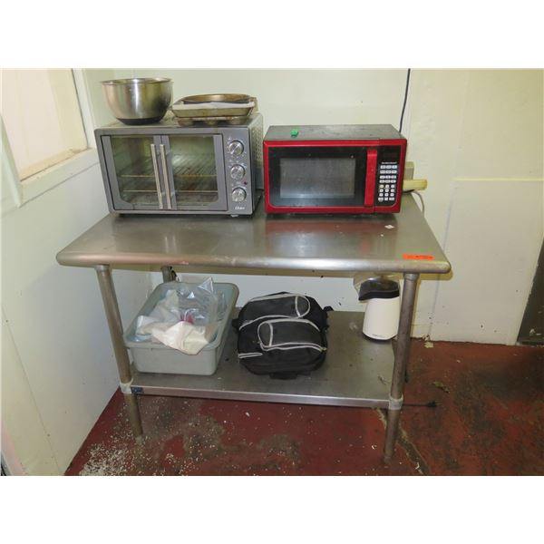 Metal Utility Table (includes items on table)