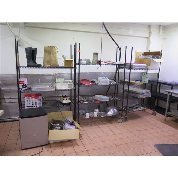 Qty 3 Wire Shelving Units with Contents (Sheet Pans, Pans, etc)