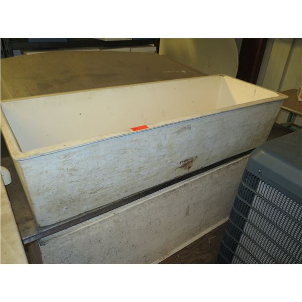Qty 4 Fiberglass Fish Boxes & Stainless Tabletops (2 Have Some Damage)