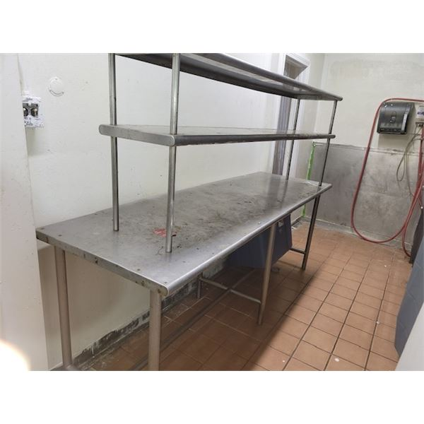 Metal Prep Table with Attached Top Shelving