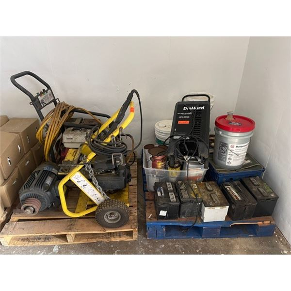 Contents of 2 Pallets: Pressure Washer, Battery Charger, Misc. Paint, etc.