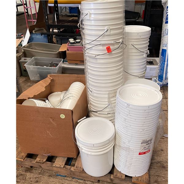 Pallet of Buckets & Lids (2 Sizes) - Most Are Unused