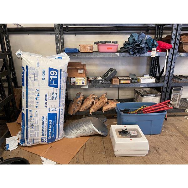 Contents of Shelving: Lighting, Insulation, Beach Gear, Spray Gun, Metal Detector, Bags of Salt, etc