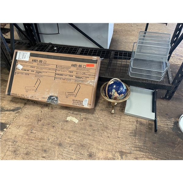 Platform Cart, Globe, Paper Cutter, Office Organizer Tray