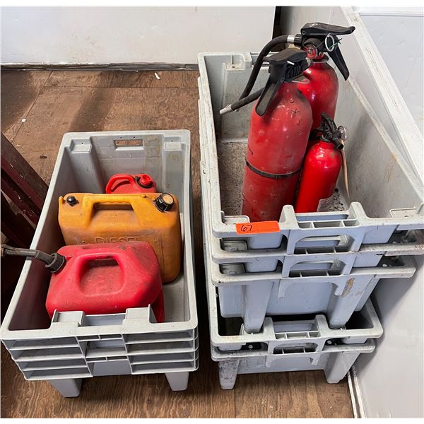 Gray Stackable Containers, Empty Gas Containers, Fire Extinguishers