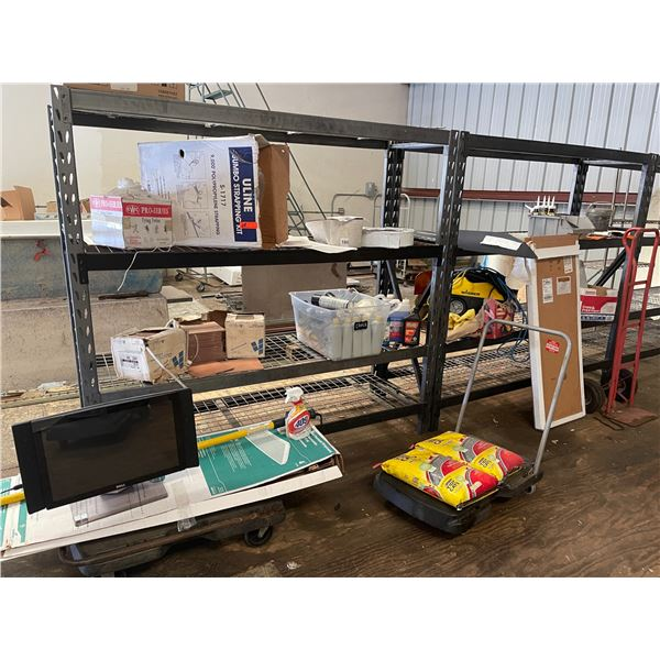 Large Lot: Hand Truck, Strapping, Floor Tiles, New 18x48 Shelf Liners, Caulking, Plastic Sheeting
