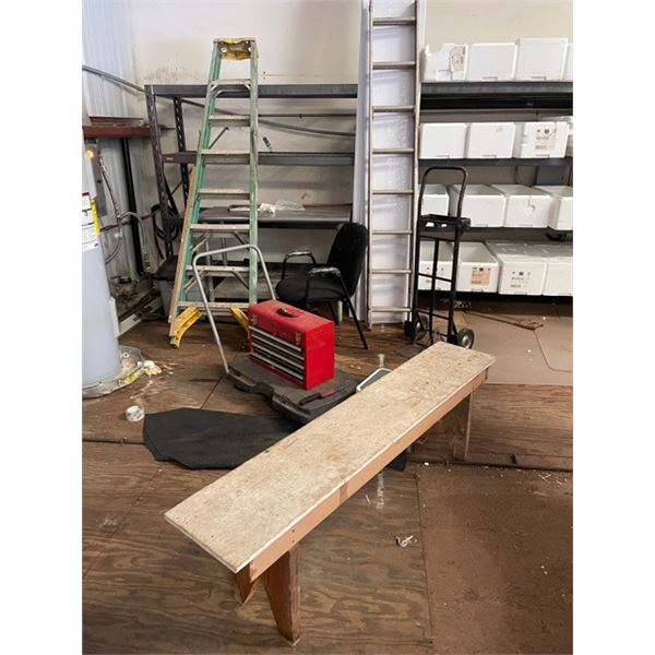Ladders, Tool Box, Bench, Black Dolly, Small Metal Table