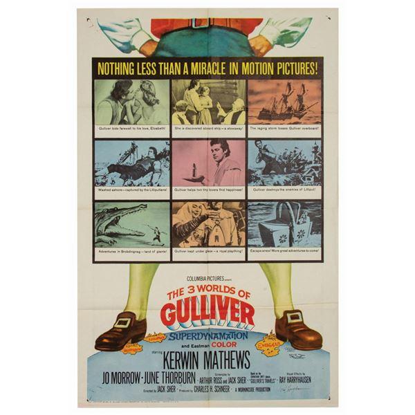 Harryhausen Signed 3 Worlds of Gulliver 1-Sheet.