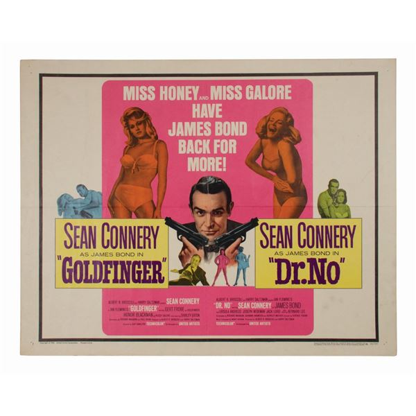 James Bond 007 Early Double Feature Half-Sheet Poster.