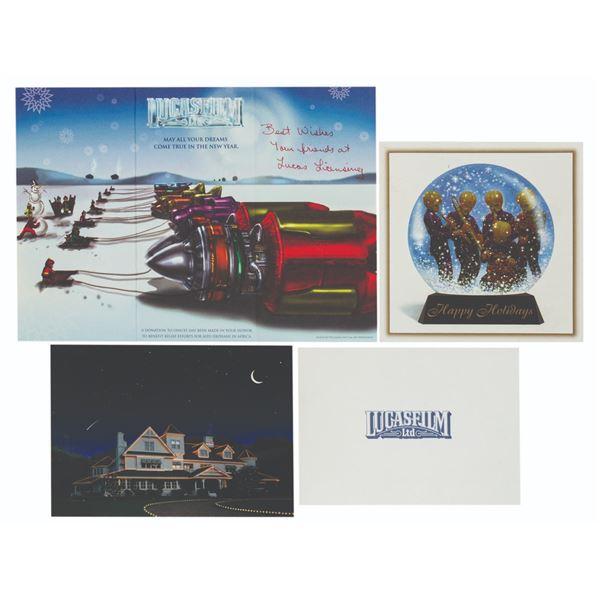 Set of (4) LucasFilm Christmas Cards.