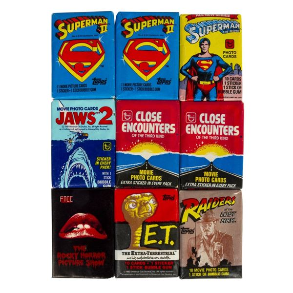 Collection of (9) Packs of Movie Cards with Gum.