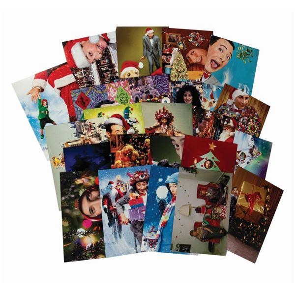 Set of (28) Paul Reubens Pee-wee Herman Christmas Postcards.