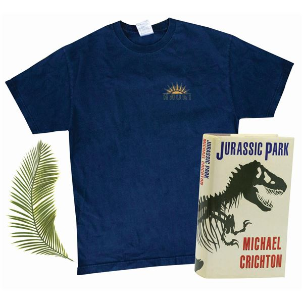 Signed Jurassic Park First Edition, Frond, and Shirt.