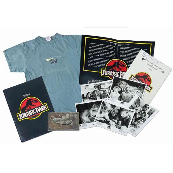 Jurassic Park Press Kit, Fossil Plaque, and Crew Shirt.