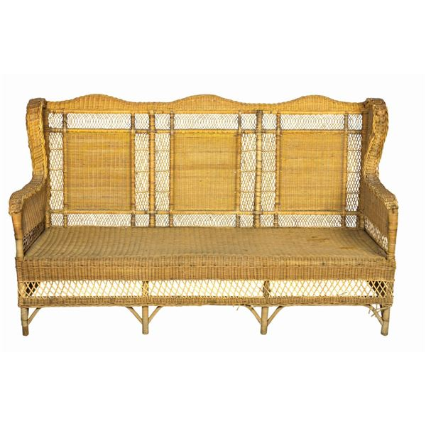 Titanic Palm Court Wicker Wingback Sofa Prop.
