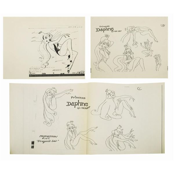 Set of (3) Dragon's Lair Daphne Model Sheets.