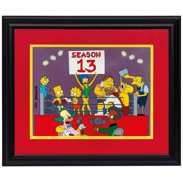 Matt Groening Signed The Simpsons Season 13 Promo Cel.