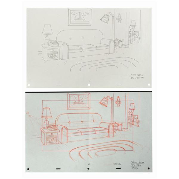 Pair of The Simpsons Game Living Room Layout Drawings.