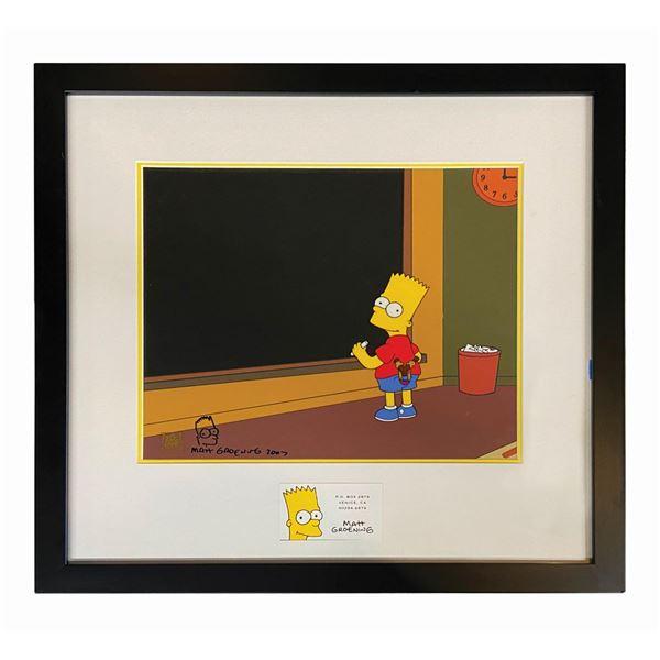 Matt Groening Signed Bart Simpson Promotional Cel.