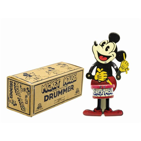 Mickey Mouse Nifty Jazz Drummer Tin Toy with Box.
