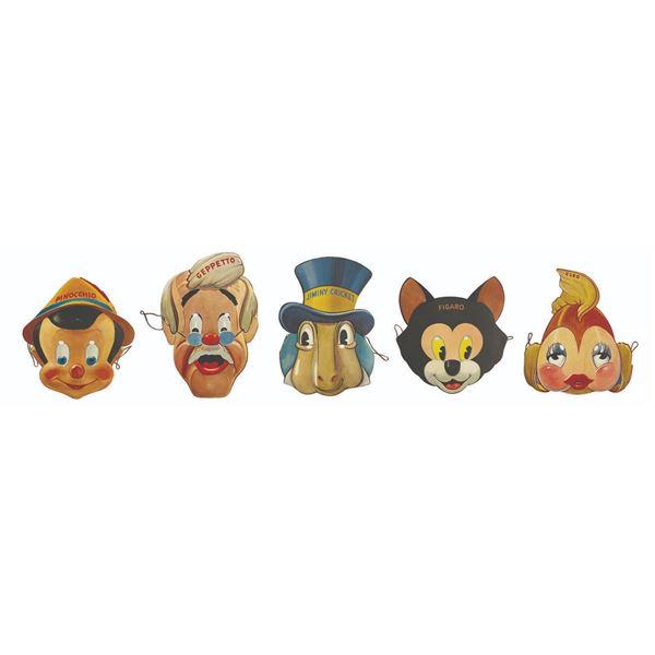 Set of (5) Pinocchio Character Masks.