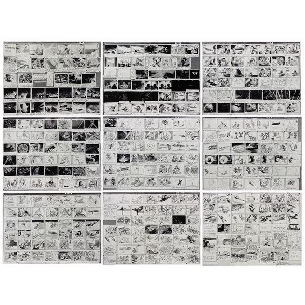 Master Set of The Gremlins Storyboard Artwork.