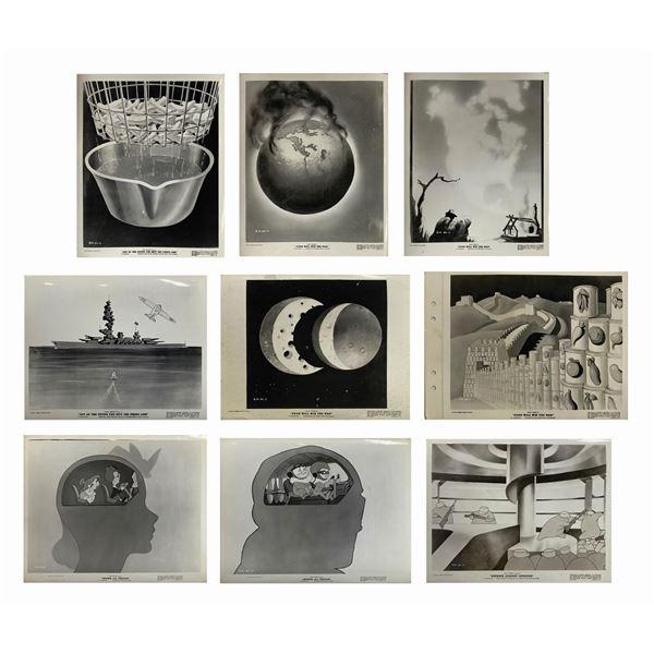 Set of (9) Photos From Disney WW2 Propaganda Shorts.