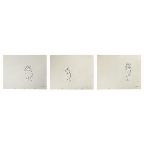 Set of (3) Peter Pan Production Drawings.
