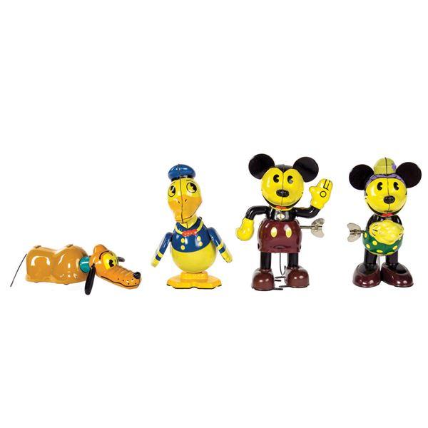Set of (4) Retro Mickey & Friends Tin Toys.