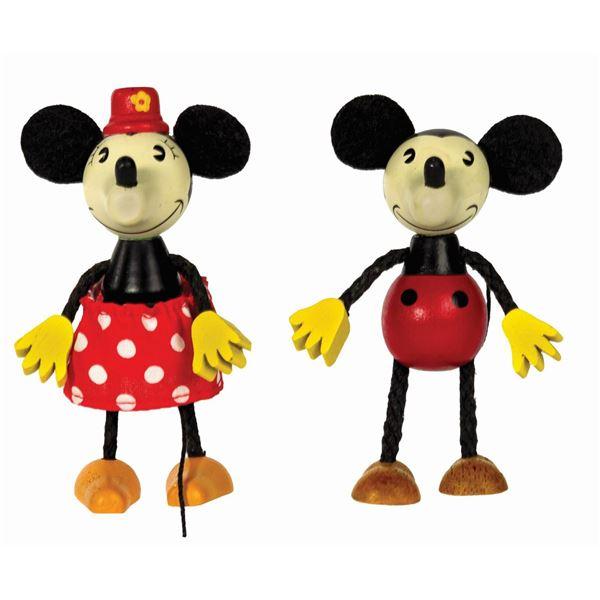 Pair of Mickey & Minnie Retro Wooden Dolls.